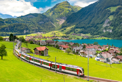 Train in Switzerland in spring