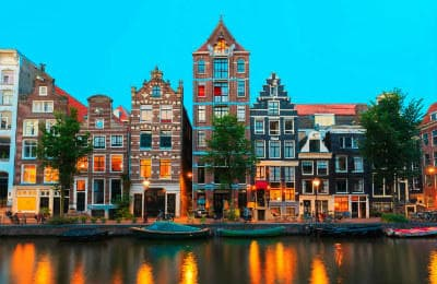Dutch houses at the canal in Amsterdam
