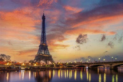 The Eiffel tower at sunrise