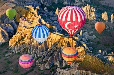 Hot air balloons over the rocky mountains in Goreme national park