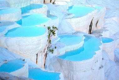 Natural travertine pools and terraces in Pamukkale