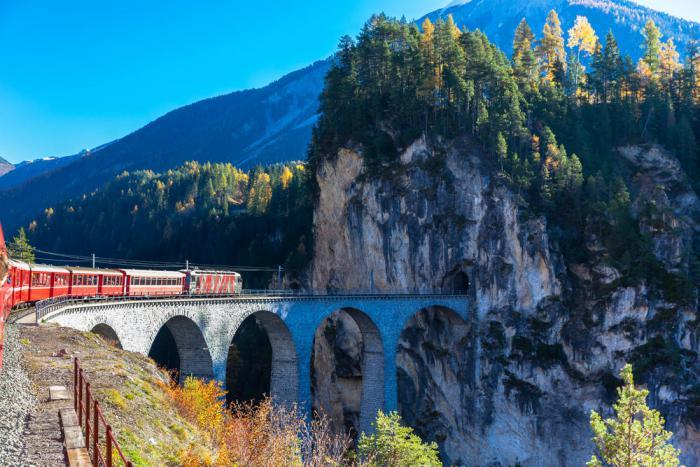 Trains run along the Albula Railway, one of the most spectacular narrow gauge railways in the world.