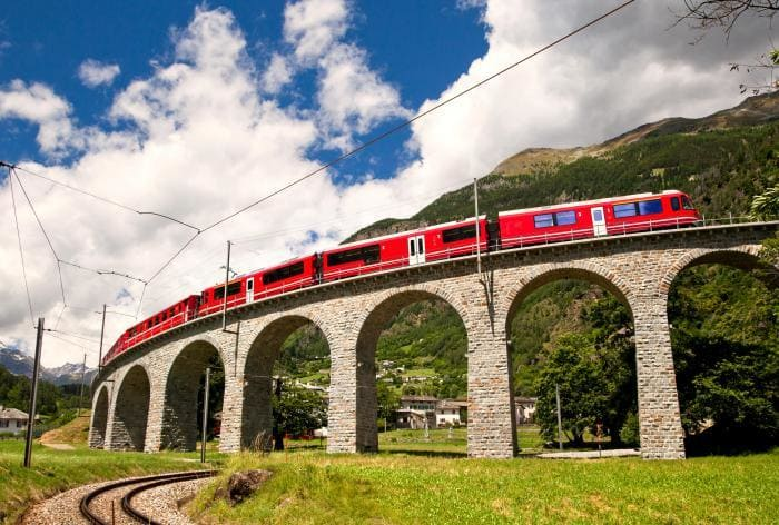 The Brusio loop is a unique part of the Bernina Express route - a circular viaduct, with 360° views.