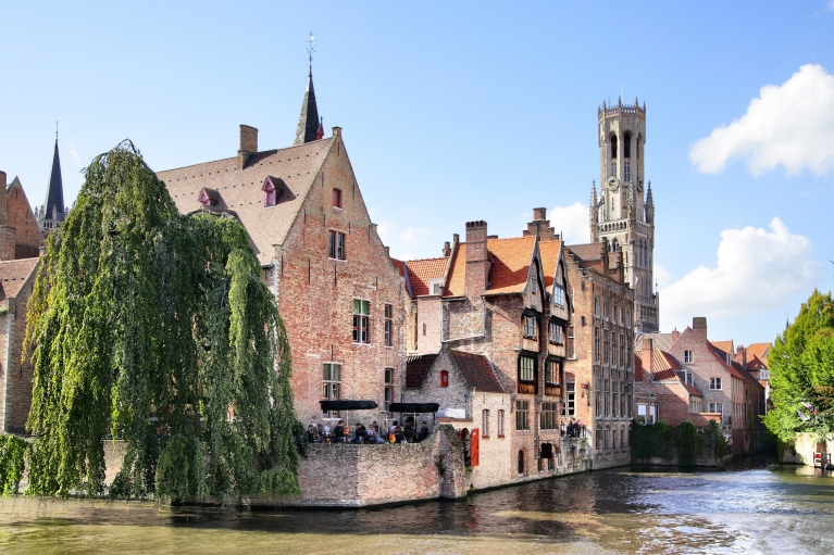 Scenic of the medieval houses and bell tower, Bruges, Belgium