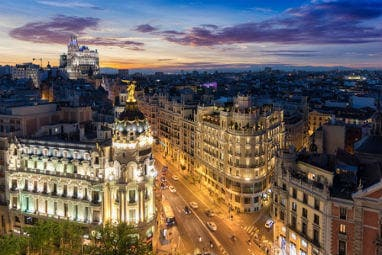 TOP 5 Europe Winter Destinations | The street where Gran via and Alcala street meet in Madrid, Spain