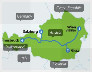 Map with example route in Austria
