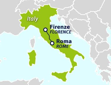 Popular train route from Rome to Florence