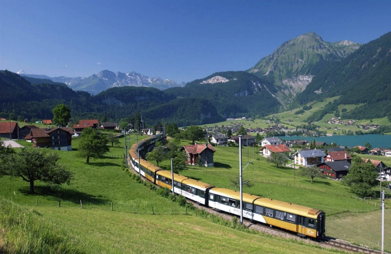 Golden Pass train crossing valley in Switzerland