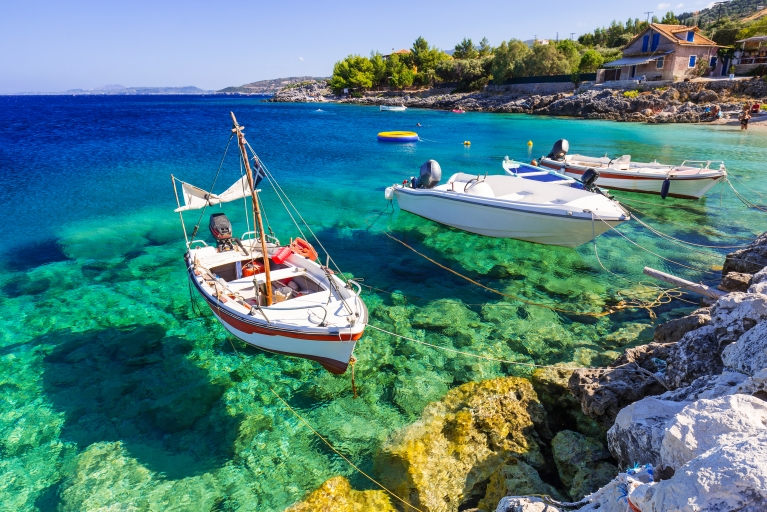greece sea boats blue water
