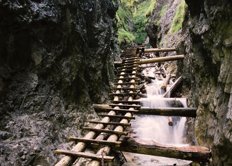 Hiking path over waterfall in Slovakia