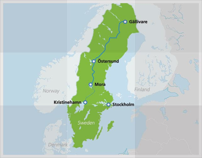 Map with route of Inlandsbanan