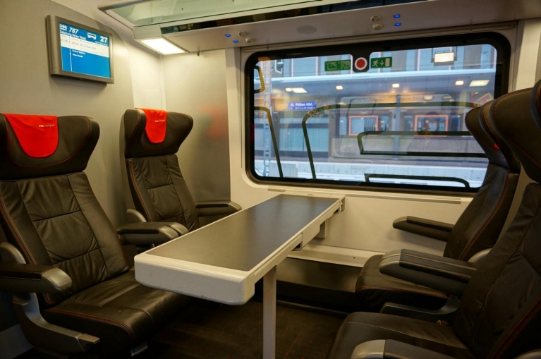Interior Railjet high-speed train, Austria