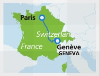 Map with train route Paris to Geneva