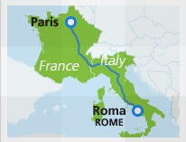 Map with train route Paris to Rome