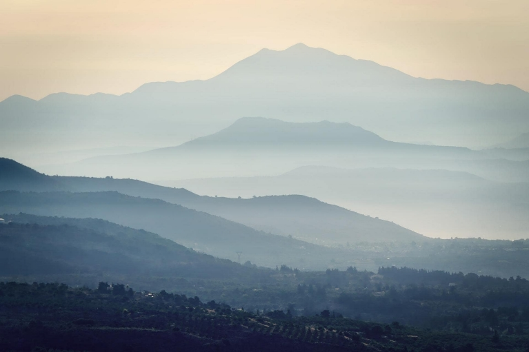 Mountains in the Fog on Crete