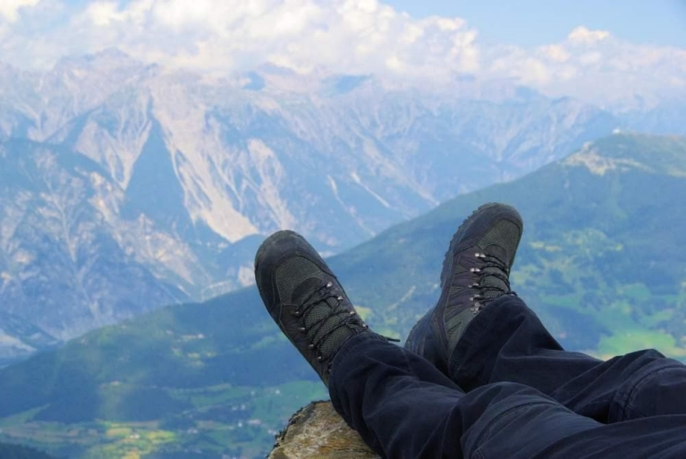 Enjoying the view after a walk in the Austrian Alps
