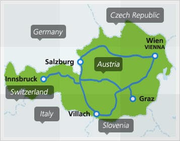 Map with popular domestic routes in Austria