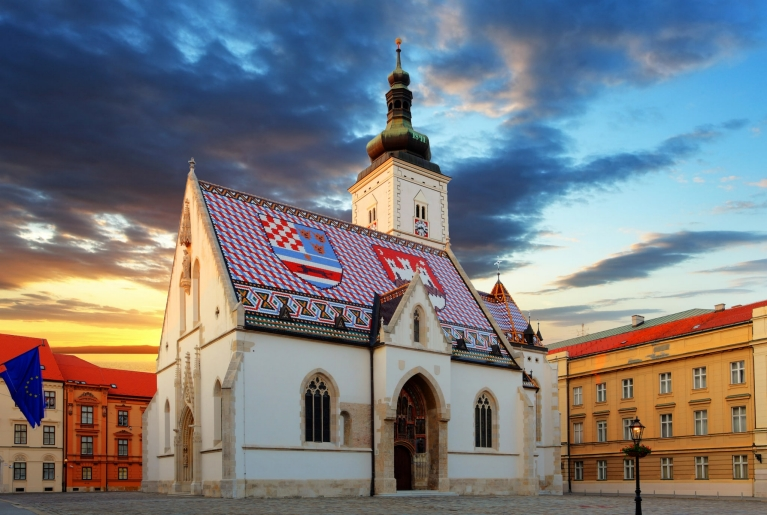 The colorful Church of St. Mark in Zagreb