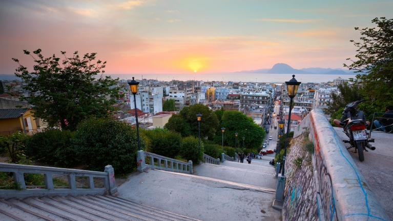 The city of Patras at sunrise