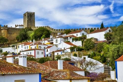 The beautiful village and the wall of Óbidos castle