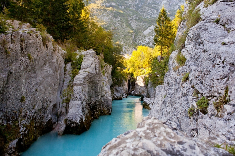 View of Soca river in the summer