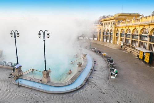 Interrailing in Spring | Széchenyi thermal bath Budapest, Hungary