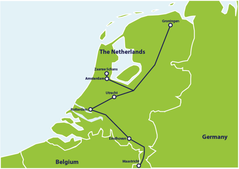 ER 1 week Netherlands itinerary map