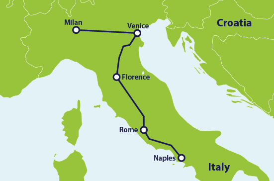 ER Italy itinerary map