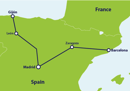 Map with train route Barcelona to Gijon