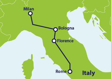 Map with train route Rome to Milan