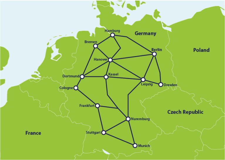 Map with main train connections in Germany